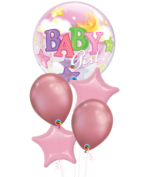 [Baby] Baby Girl Moon & Stars Chrome Mauve Balloons Bouquet