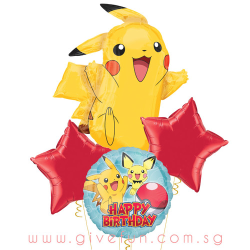 Pikachu Pokemon Happy Birthday Balloons Bouquet