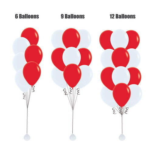 "12"" Fashion Latex Balloons Cluster - Red & White"