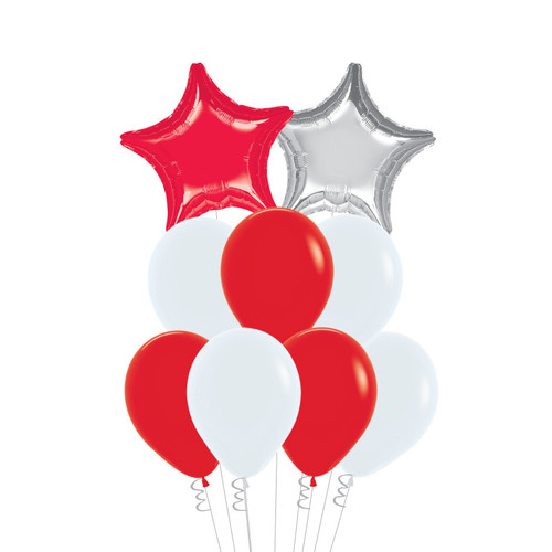 """[Together, Our Singapore Spirit] 18"""" Star & 12"""" Fashion Latex National Day Theme Balloons Cluster - Red & White"""