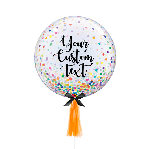 """24"""" Personalised Crystal Clear Transparent Colorful Confetti Dots Balloon with 1pc Tassel Tail"""