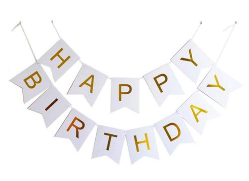 Classic Happy Birthday Bunting (2.5meter) - White
