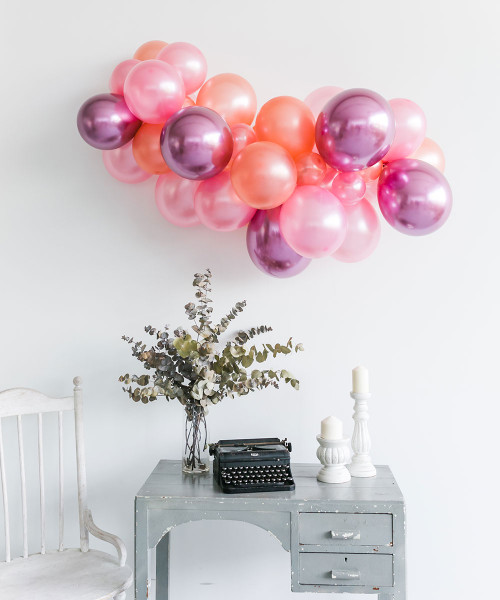 Create Your Own Chrome Metallic Shine Organic Balloon Garland - Metallic Color