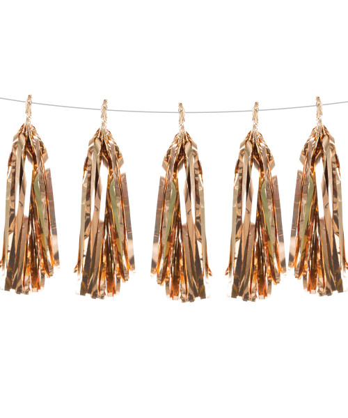 Metallic Foil Paper Tassel Garlands DIY Kit (5 Tassels) - All Metallic Rose Gold