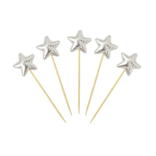 Twinkle Twinkle Little StarnCupcake Toppers (5pcs) - Metallic Silver