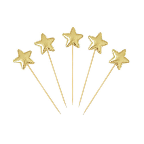 Twinkle Twinkle Little Star Cupcake Toppers (5pcs) - Metallic Gold