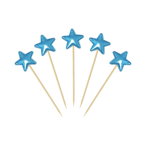 Twinkle Star Cupcake Toppers (5pcs) - Metallic Blue