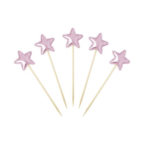 Twinkle Twinkle Little Star Cupcake Toppers (5pcs) - Metallic Pink