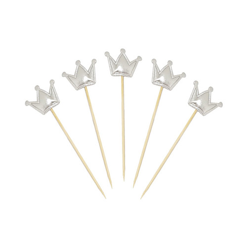 Crown Cupcake Toppers (5pcs) - Metallic Silver