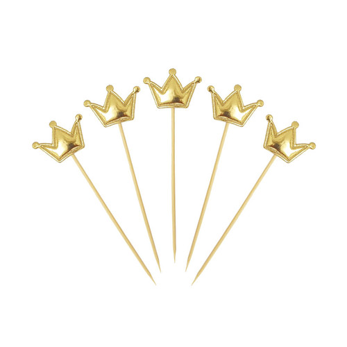 Crown Cupcake Toppers (5pcs) - Metallic Gold