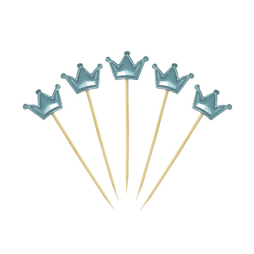 Crown Cupcake Toppers (5pcs) - Metallic Blue