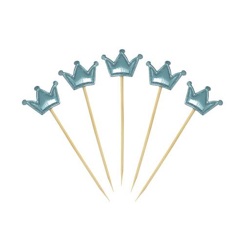 Crown Cupcake Toppers (5pcs) - Metallic Blue