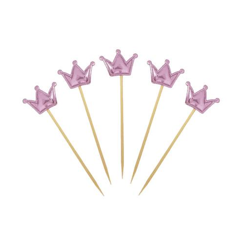 Crown Cupcake Toppers (5pcs) - Metallic Pink