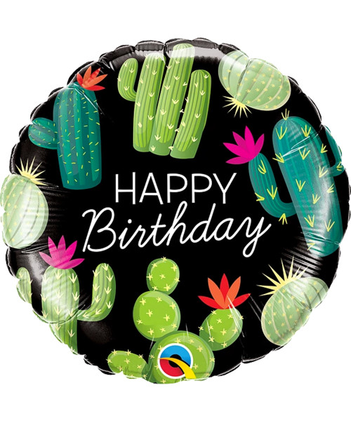 [Cactus] Cacti Cactuses Happy Birthday Foil Balloon (18inch) (Q78662)