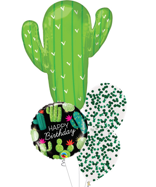 [Cactus] Happy Birthday Cactus Confetti Balloons Bouquet