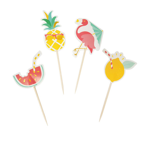 Tropical Holiday Themed Cupcake Toppers (4pcs)