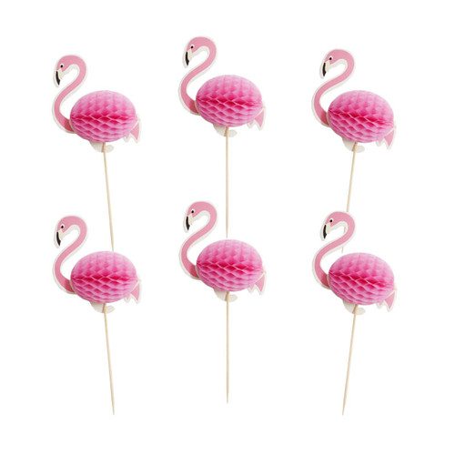 Flamingo Honeycomb Cupcake Toppers
