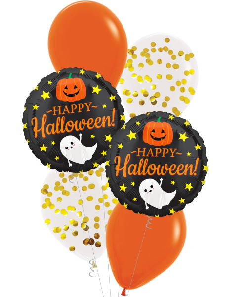 Happy Halloween with Ghost, Pumpkin and Stars Gold Confetti Balloons Bouquet