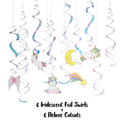 Unicorn Iridescent Swirl Foil Decoration (12pcs)