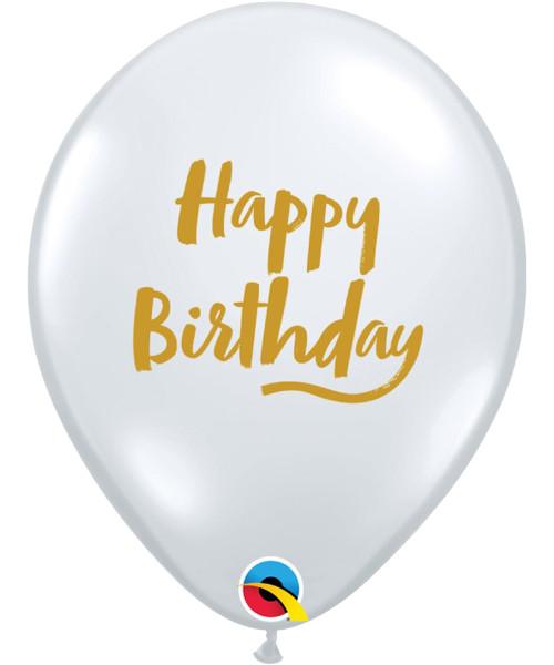 "11"" Clear Transparent Birthday Brush Script Round Latex Balloons"