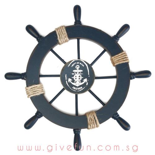 Decorative Navy Blue Wood Boat Ship Wheel