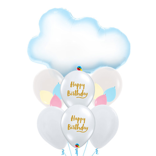 Puffy Cloud Pastel Happy Birthday Balloons Bouquet