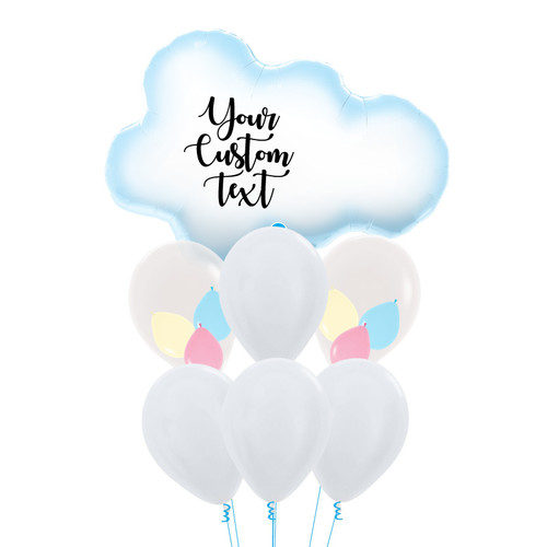 Personalised Puffy Cloud Pastel Balloons Bouquet