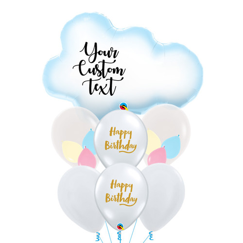 Personalised Puffy Cloud Pastel Happy Birthday Balloons Bouquet