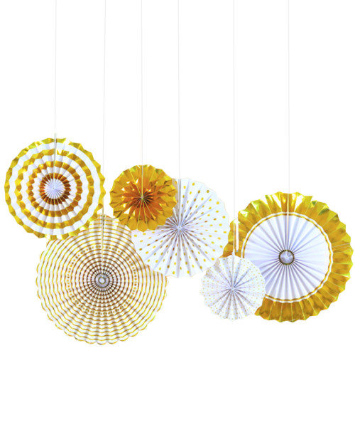 Assorted Patterns Paper Fans Set (6pcs) - Metallic Gold