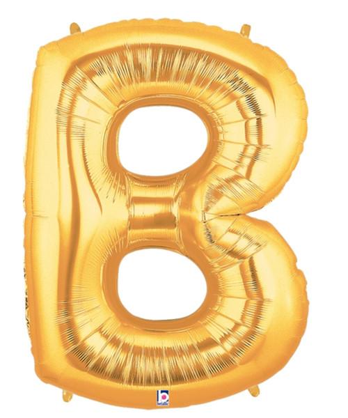 """40"""" Giant Alphabet Foil Balloon (Gold) - Letter 'B'"""