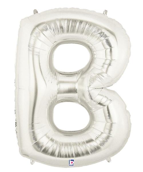 """40"""" Giant Alphabet Foil Balloon (Silver) - Letter 'B'"""