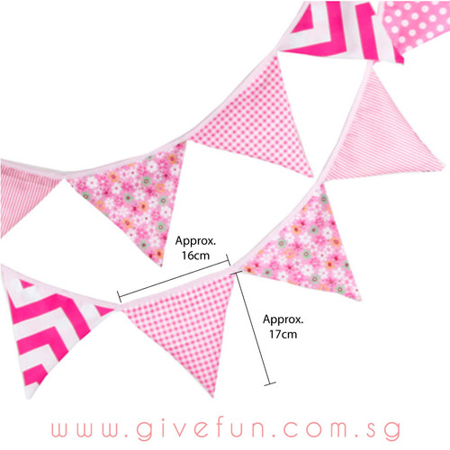 Assorted Patterns Fabric Pennants Bunting (1 meter) - Sweet Pink