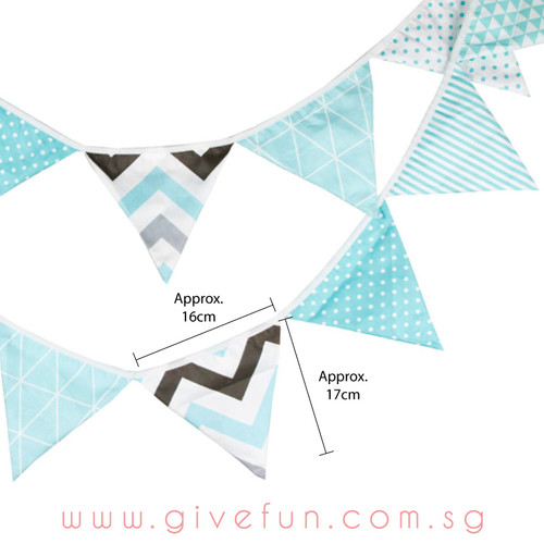 Assorted Patterns Fabric Pennants Bunting (1meter) - Pastel Blue