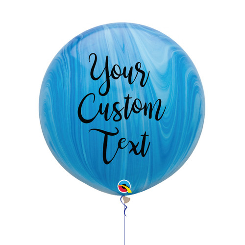 30'' Personalised Jumbo Marble Pattern Latex Balloon - Ocean Marble