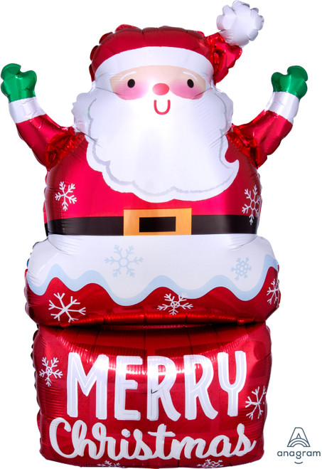 Santa In Chimney Foil Balloon