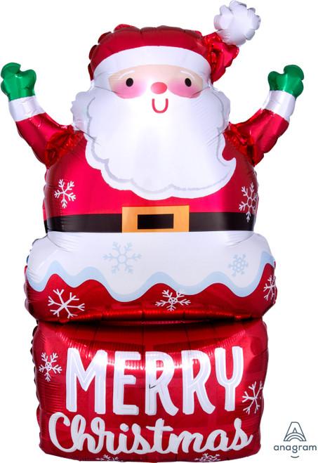 Santa In Chimney Foil Balloon
