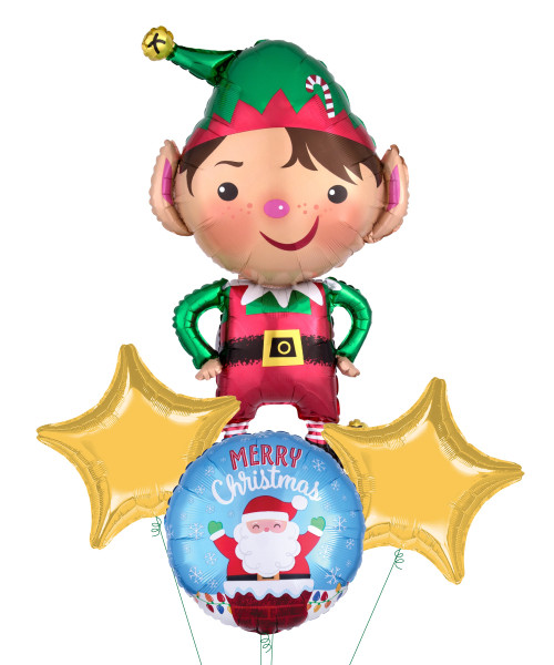 Jolly Christmas Elf & Santa Christmas Balloons Bouquet