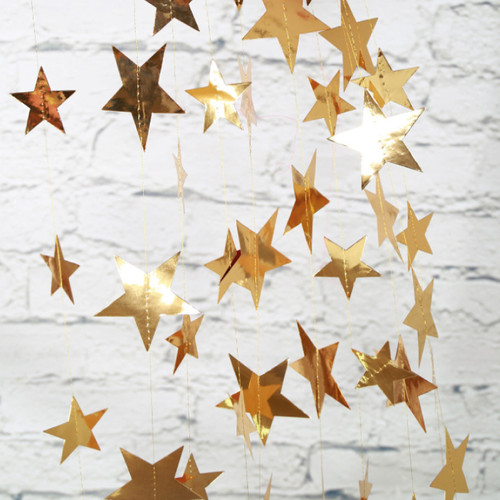Paper Star Garland (4meter) - Gold Reflective