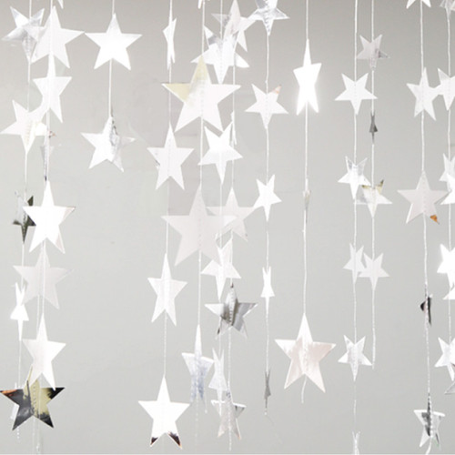 Paper Star Garland (4meter) - Silver Reflective