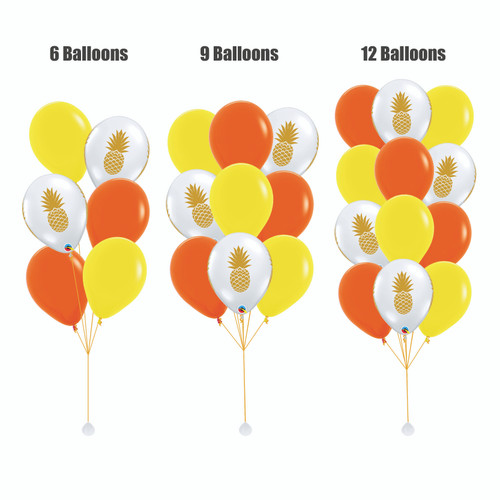 12'' Transparent Pineapple Balloon Cluster - Fashion Color