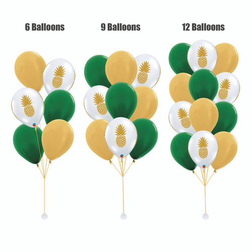 12'' Transparent Pineapple Balloon Cluster - Metallic Color