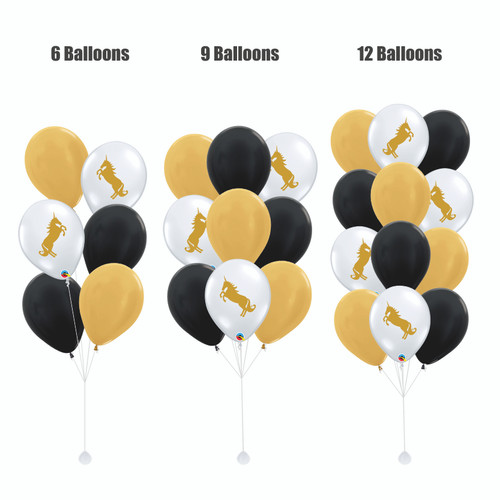 12'' Transparent Unicorn Balloon Cluster - Metallic Color