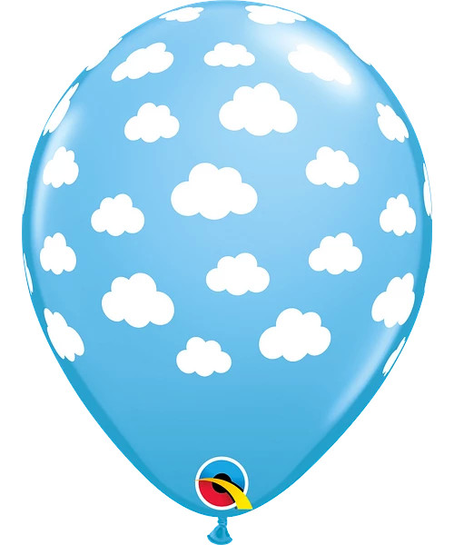 "11"" Pale Blue Clouds Round Latex Balloon"
