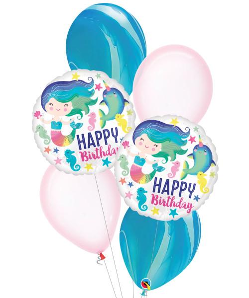 [Mermaid] Colourful Ocean Fun HBD Balloons Bouquet
