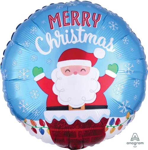 Santa In Chimney Foil Balloon (18inch)