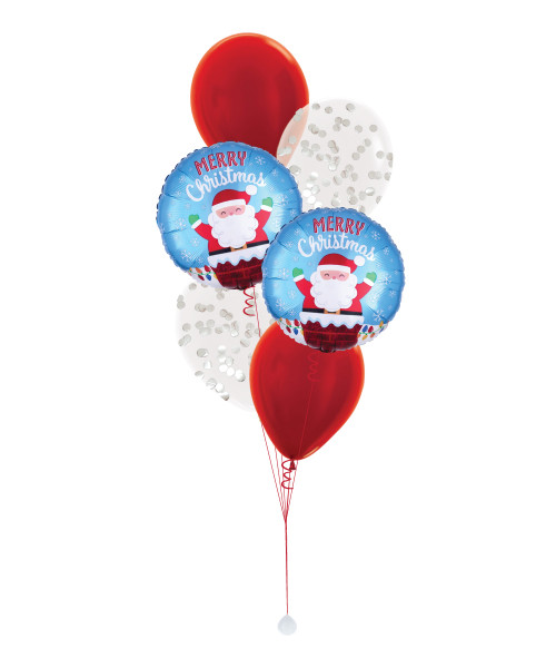 Santa In Chimney Confetti Balloons Bouquet