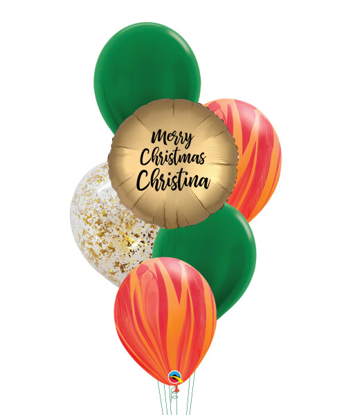[Merry Christmas] Personalised Name Merry Christmas Marblelous Balloons Bouquet