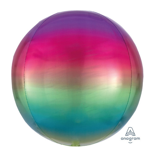 "[Orbz] 16""/41cm Sphere Shaped Balloon - Ombré Rainbow"