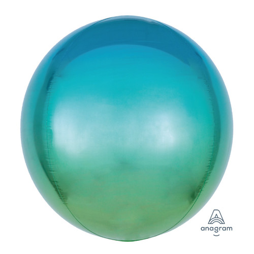 "16""/41cm Ombré Blue & Green Sphere Shaped Balloon"