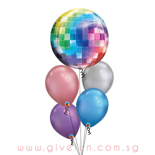 Disco Ball Chrome Balloons Bouquet